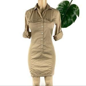 Max Studio Stretch Roll Sleeve Cotton Tan Dress M